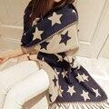 A Nova Marca de Luxo Mulheres Lenços Para Lady Menina de Cinco-apontou Estrela Imitação Cachecol de Caxemira Moda Quente Borla Grosso xale