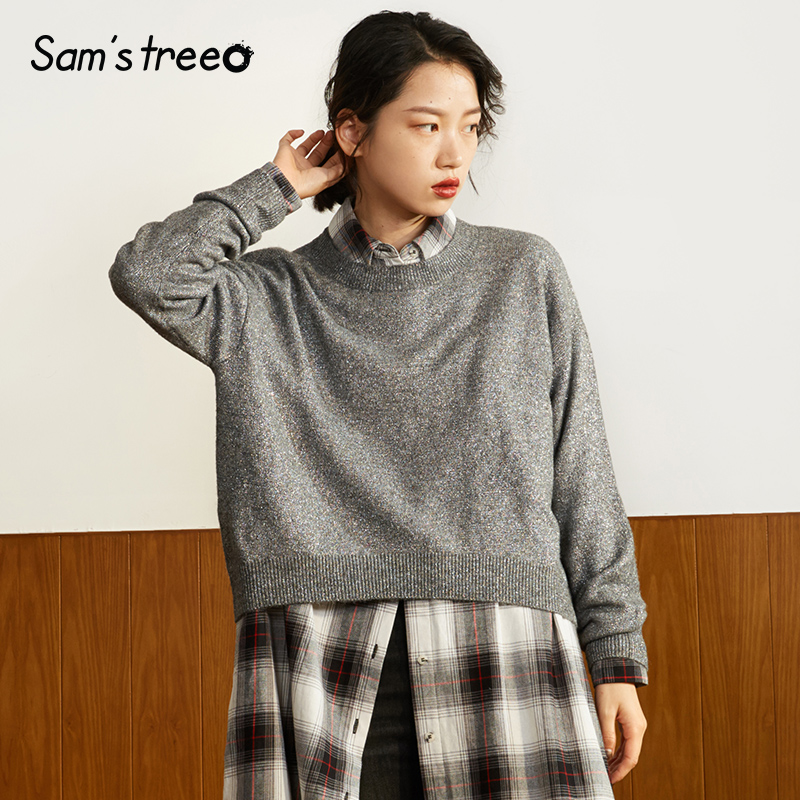 Samstree Winter Women Kintted Tops Loose O neck Female Gray Sweater Drop shoulder Simple Knitted Pullovers