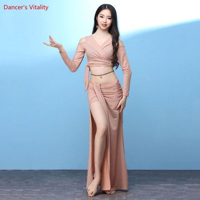 חדש נשים בטן ריקוד ללבוש ארוך שרוולים למעלה + ארוך חצאית סט תלבושות סט עבור בנות ריקוד תחרות סט
