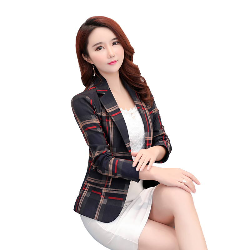 Brieuces new Women Blue Red Plaid Ol Style Slim And Jackets One Button Suit Girl Office Jacket Elegant 3xl in Jackets from Women 39 s Clothing