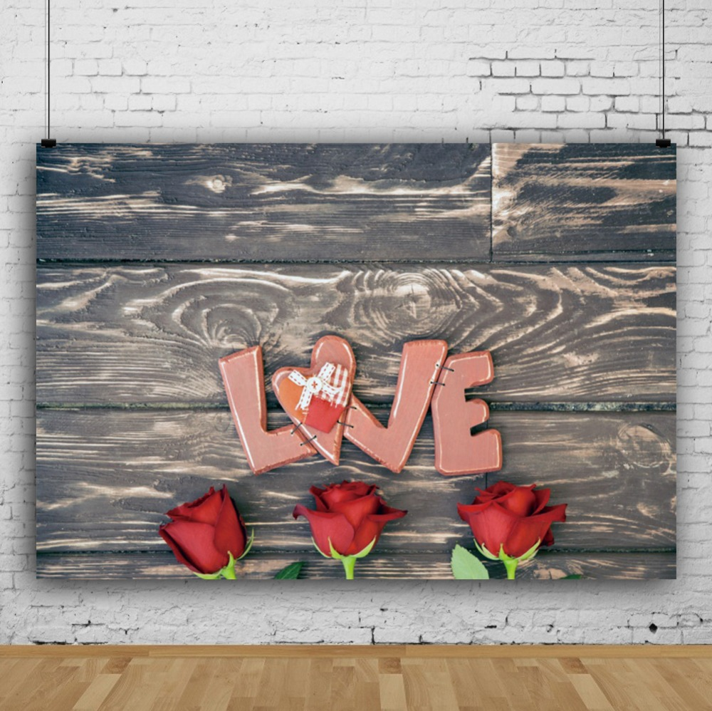 Laeacco Red Flowers Love Heart Wooden Boards Wall Portrait Scene Photography Backgrounds Photographic Backdrops For Photo Studio in Background from Consumer Electronics