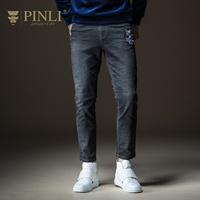PINLI pin Li 2018 new autumn men's dress, youth foot embroidered leisure jeans jeans B183216311