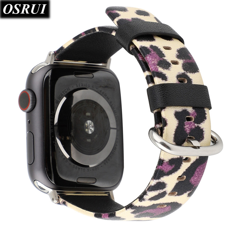 Strap for Apple watch band 42mm 38mm leather watchband 44mm 40mm bracelet belt Leopard pattern iwatch series 4 3 2 1 Accessories in Watchbands from Watches