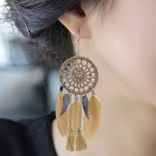 HOMOD 7 Colors Dreamcatcher Bohemia Feather Earrings For Women Beach Jewelry Long Dangle Drop Earrings Statement Brincos dreamcatcher design feather drop earrings
