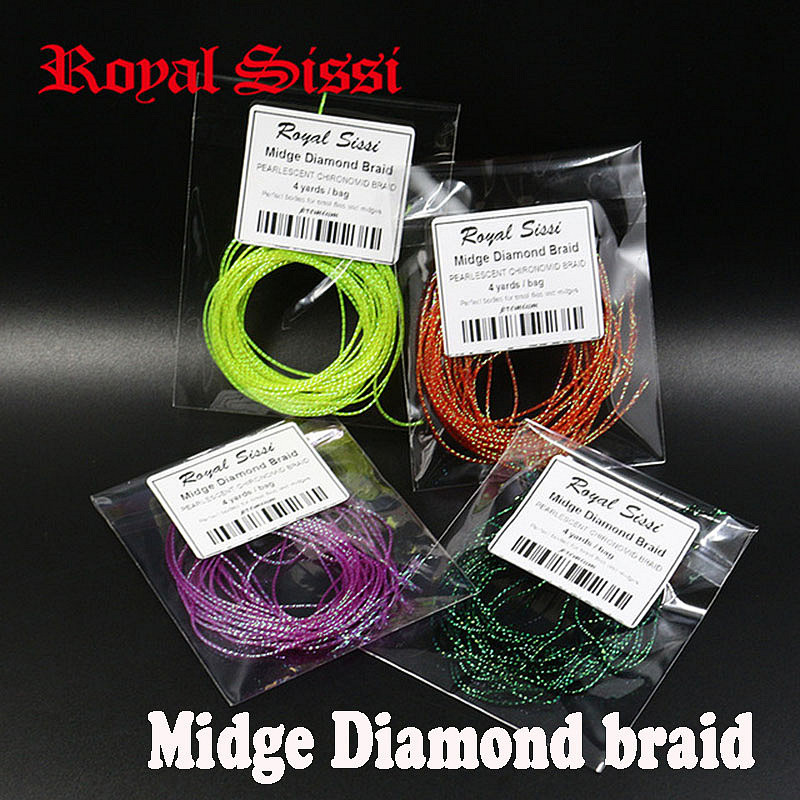 5packs set 4yards/pack midge diamond braid pearlescent tones fly tying body wrap tying materials small flies chironomid braid