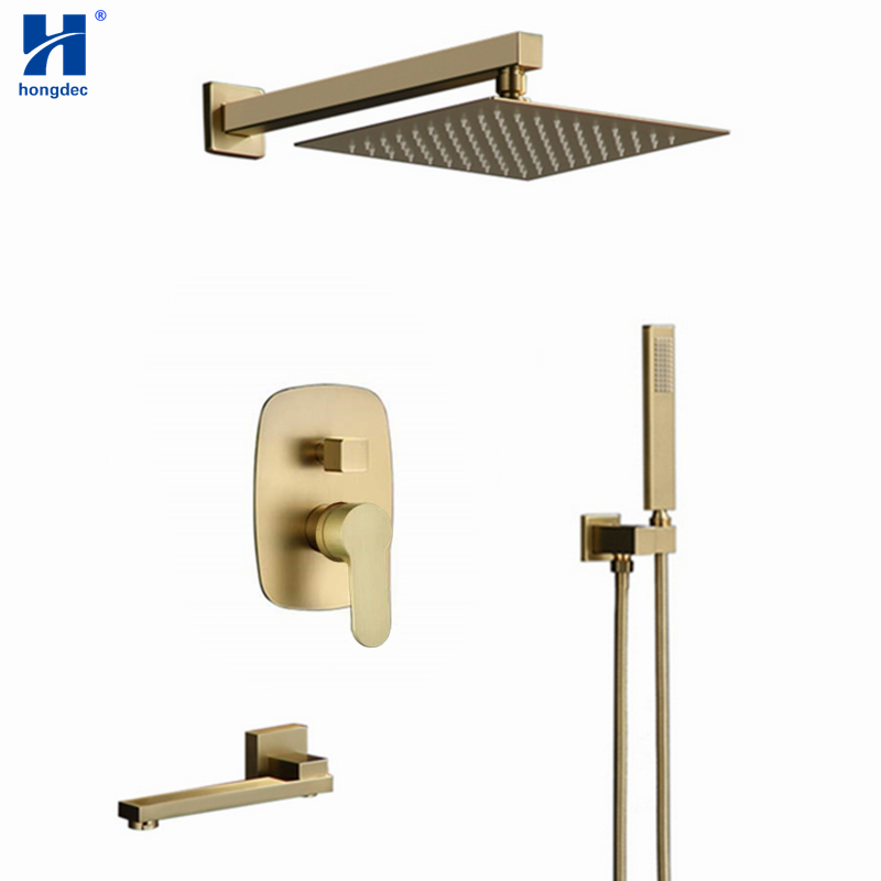"Hongdec Bathroom Luxury Brushed gold 12 "" Ceiling Rainfall Shower faucet System set"