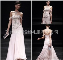 free shipping 2014 new fashion vestidos formal robe de soiree cap sleeve crystal pink long elegant party gown Graduation Dresses