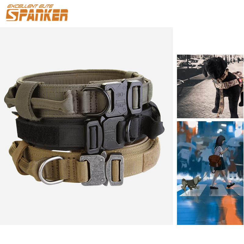 SPANKER Military Nylon Dog Collar Outdoor Training Dog Leash Dog Neck Strap Tactical Dogs Collars Necklace Hunting Accessories durable pet nylon braided robe dog training leash strap blue orange