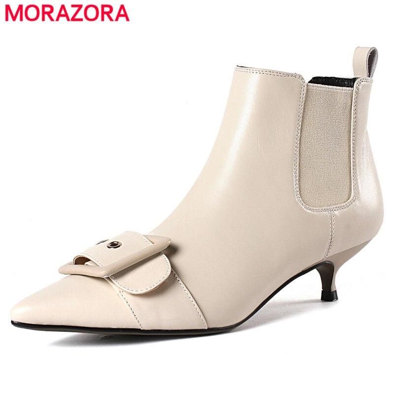 MORAZORA 2020 new arrival buty z prawdziwej skóry niskie buty na obcasie pas klamra botki dla damskie buty jesień zima buty w Buty do kostki od Buty na  Grupa 1