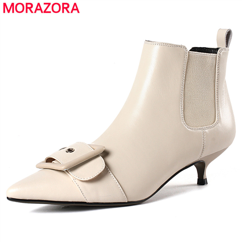 MORAZORA 2020 new arrival genuine leather boots low stiletto heels Belt buckle ankle boots for women shoes autumn winter boots
