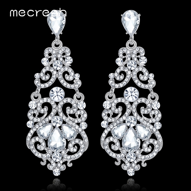 Mecresh великолепный Кристаллические серьги для Для женщин Серебряный Цвет геометрические длинные серьги-подвески модные свадебные ювелирные изделия EH373