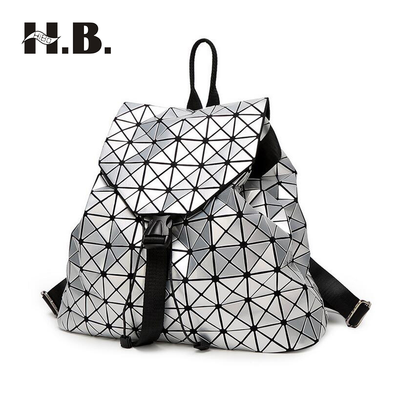 HIBO Japan and South Korea big laser geometric shoulder backpack fashion trend of women bag travel personality backpack