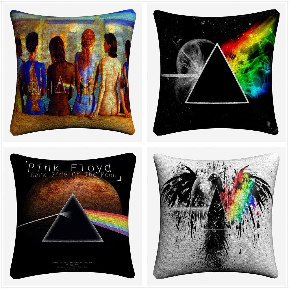 Pink Floyd Triangle Music Decorative Cotton Linen Cushion Cover 45x45cm For Sofa Chair Pillowcase Home Decor Almofada
