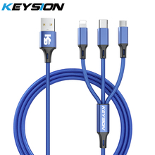 KEYSION 3 in 1 USB Cable for Mobile Phone Micro Type C Charger iPhone Charging Cord