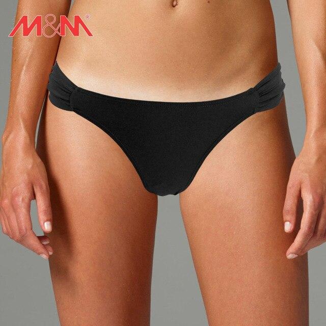 a83e5808e4 M M Black Low Waist Bikini Tops Swim Wear Bottom 2016 Summer Bikini Pants  Solid Sexy Ruched Women Beach Girls Swim Briefs