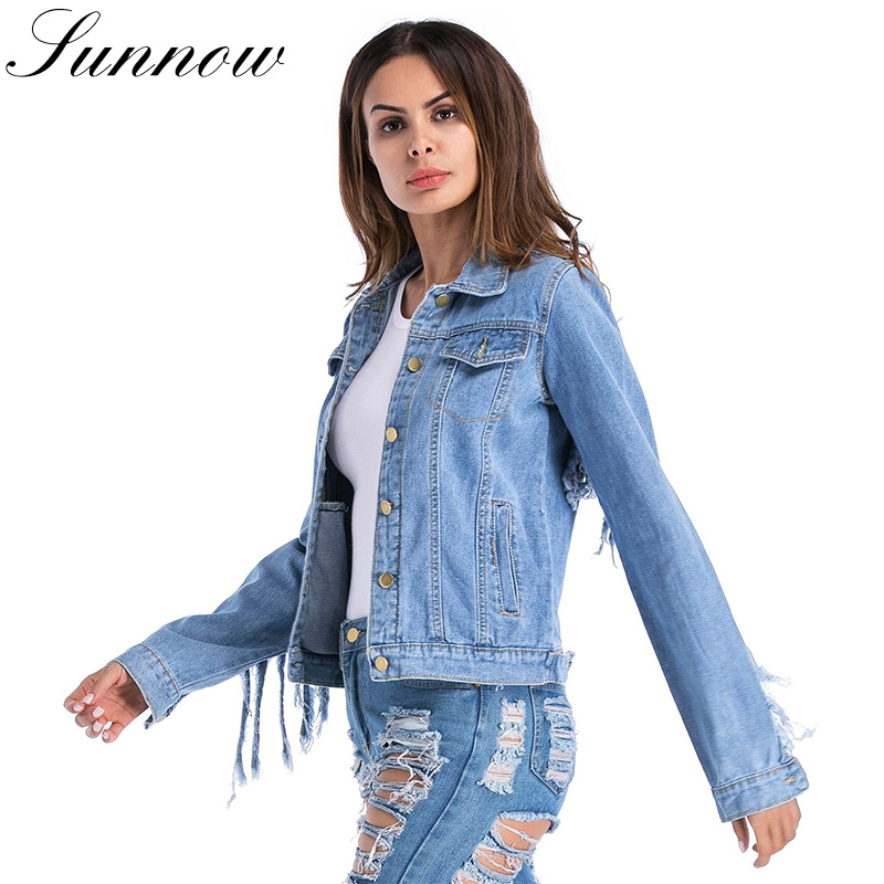 SUNNOW Autumn Denim   Jacket   for Women Blue Jean Coat Long Sleeve Slim Larger Size Female Outwear   Basic     Jackets   2018 Fashion