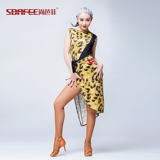 2017 new sexy fashion Latin dance leopard print Sleeveless Dress Costume  backless clothes for lady free shipping c5b874a9e