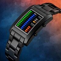 2018 새로운 럭셔리 블랙 이진 남성 시계 패션 비즈니스 스테인레스 스틸 LED 시계 디지털 스포츠 광장 이진 시계 조절