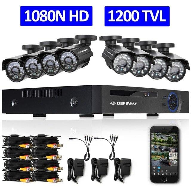 Комплект 8-ми канальной HD 1080N системы видеонаблюдения.