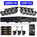 DEFEWAY 8CH 1080N HDMI DVR 1200TVL 720P HD Outdoor Surveillance Security Camera System 8 Channel CCTV DVR Kit AHD Camera Set