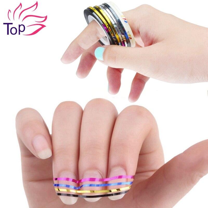 Top Nail 8 Rolls Lot 2mm 3mm Width 3d Art Tips Striping Tapes