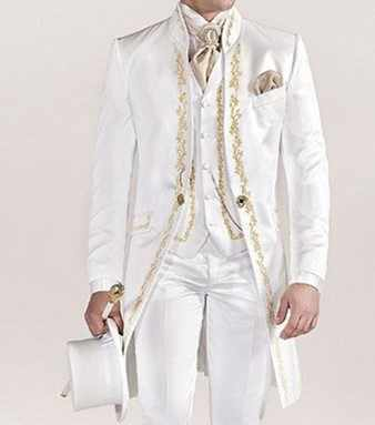 ヴィンテージホワイト燕尾服メンズプリント用ウェディングスーツスーツ男ブレザースーツの男ロングジャケット 3 ピースパンツベスト新郎タキシード