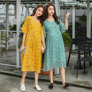 Image 2 - 8216 # פרחוני מודפס שיפון יולדות מקסי ארוך שמלת 2019 קיץ אופנה לנשים בהריון אלגנטי הריון בגדים