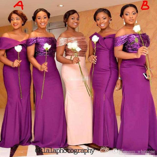 Elegant Purple Bridesmaid Dresses Off Shoulder Sparkly Sequins Mermaid 2017 Mismatched Maid of Honor Gowns