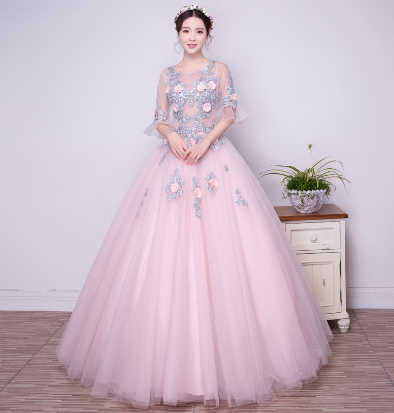 100% real grande bordado lace see throught top Bola vestido de baile ...