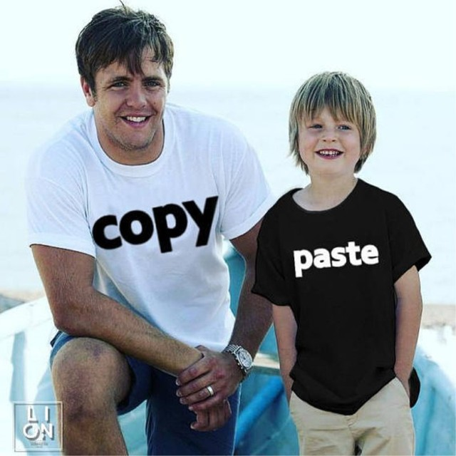 918c2eb9 Dad and Me Father Son Shirts Copy Paste Print Father Baby Matching Clothes  T Shirt Family Matching Outfits Tops Tees Ctrl C V