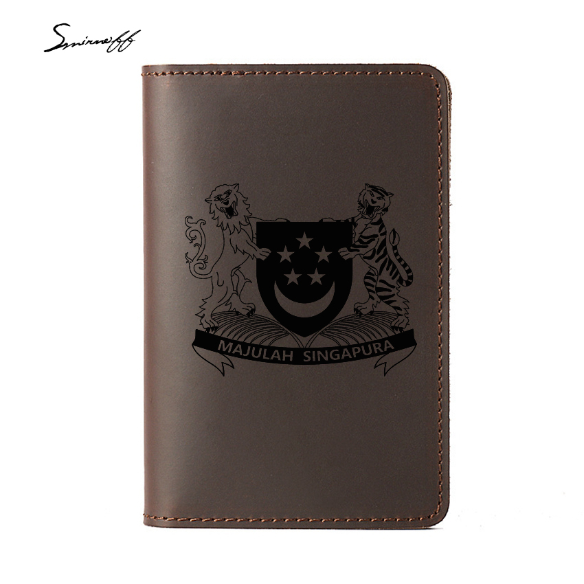 New Cow Leather Travel Card Holder Travel Accessories Case Multifunction Passport Holder Engraved Singapore Passport Cover