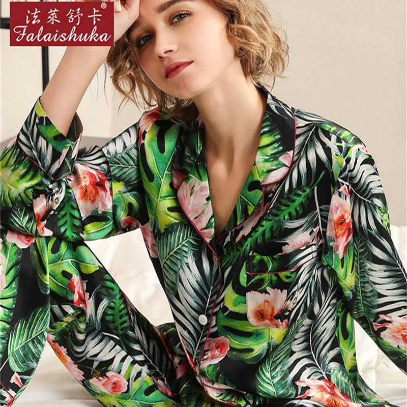 Heavy Silk Pajama Female Spring Autumn Sexy Real Sleepwear Fashion Printed 100% Silkworm Woman Pyjama Sets T8190