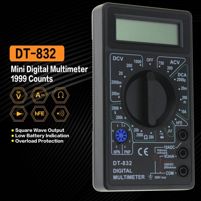 DT-832 Digital Multimeter 1999 Counts AC/DC Amp Volt Ohm Tester Voltmeter Ammeter Multi Meter