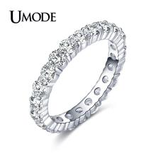 UMODE 2019 White Gold Crystal Eternity Rings for Women 3mm 0.1 Carat Round CZ Wedding Bands Jewelry Anillos Mujer Moda AUR0279 цена