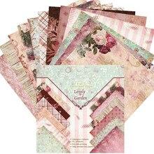 "DIY Scrapbook 6"" Designer Pink Purple Lovely Garden Patterned Paper Collection 24 Sheet Pads Background Papers Craft Patterned"