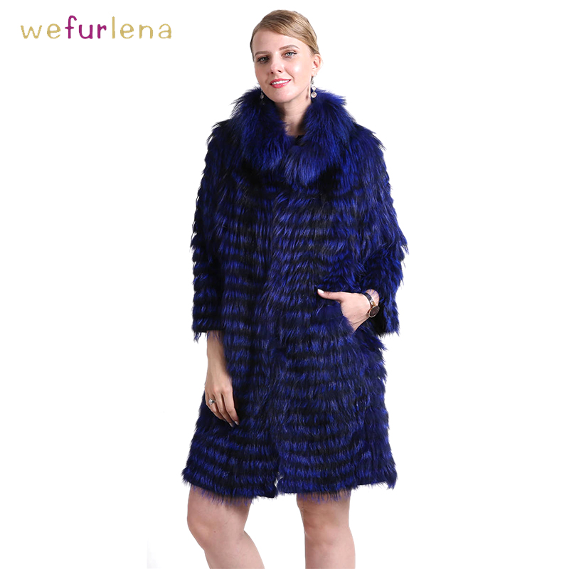 Women 100% Genuine Silver Fox Fur Coat Knitted Striped Real Fox Fur Warm Collar Female Clothes Jacket Female 90cm Outerwear