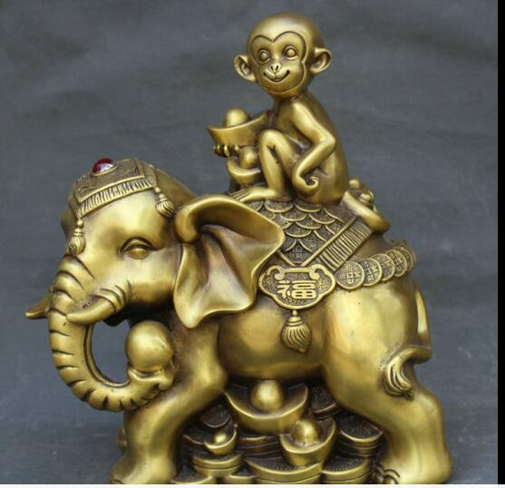 12 Brass Monkey Ride Elephant Wealth Canonized General China Statue Sculpture wholesale factory Bronze Arts