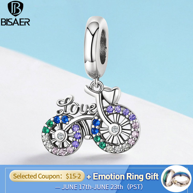 Real 925 Sterling Silver Bike Charms Bicycle Memory Love Beads fit BISAER Bracelets Bangles 925 Silver Jewelry Gift ECC1082