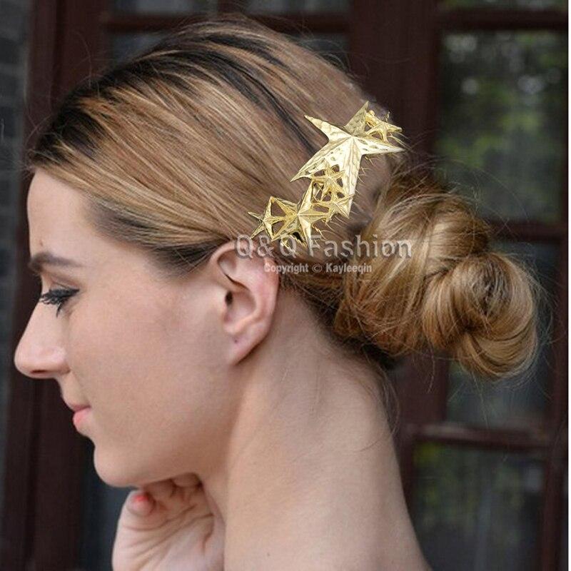 Подиум золотые текстурированная 3D Стрельба звезда волос Булавки клип платье snap Заколка гребень ювелирные изделия 2018 Новый