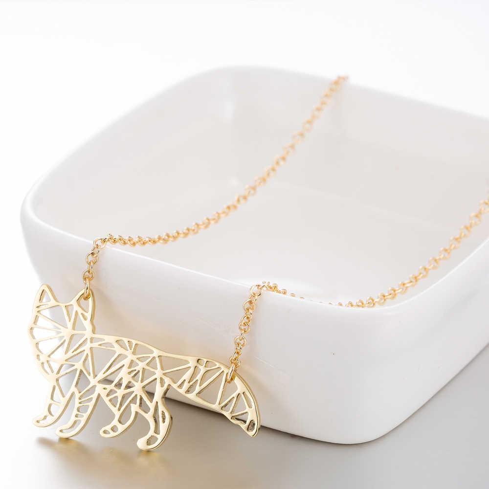 Yiustar Nette Süße Charming Schmuck Fox Origami Anhänger Halskette Hohl Tier Fuchs Halskette Für Frauen Kinder Mädchen Geburtstag Geschenke