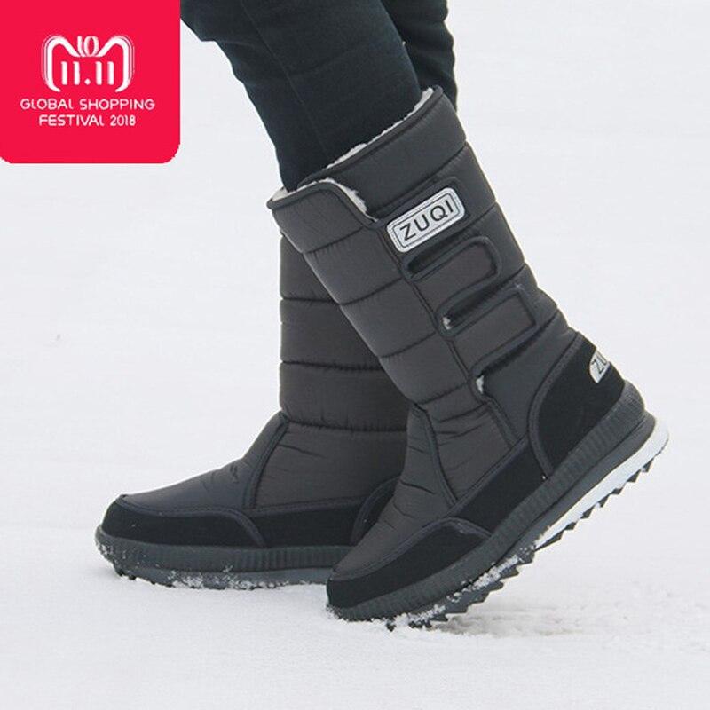 2019 Men Boots platform snow boots for men thick plush waterproof slip-resistant winter shoes Plus size 34 - 47 3