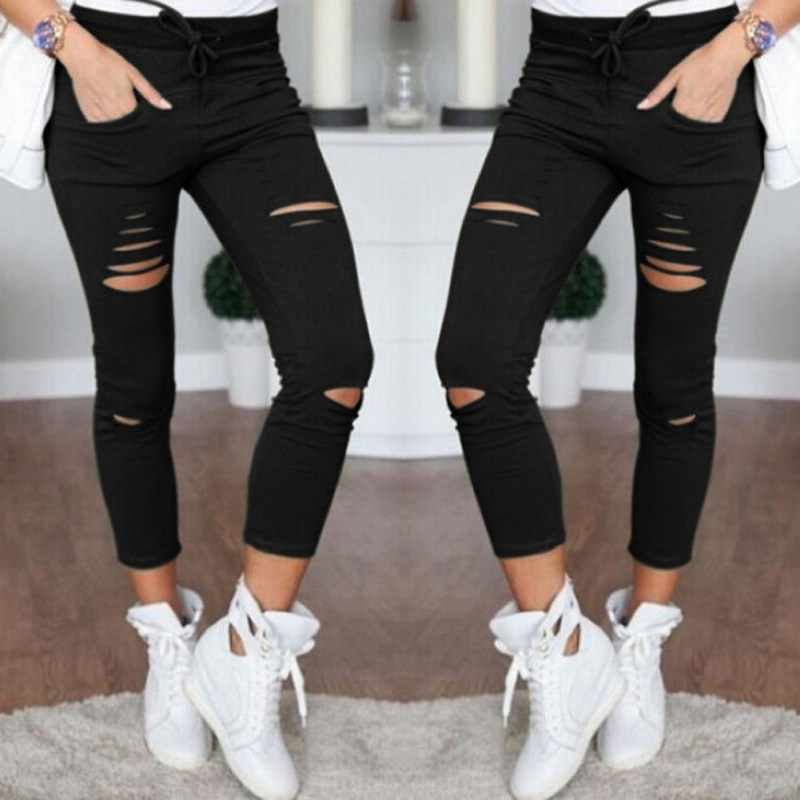bc0a1753d2c0f Summer Female Trousers Women Skinny Pants Ripped Sexy Holes Knee Pencil  Pant High Waist Casual Trouser