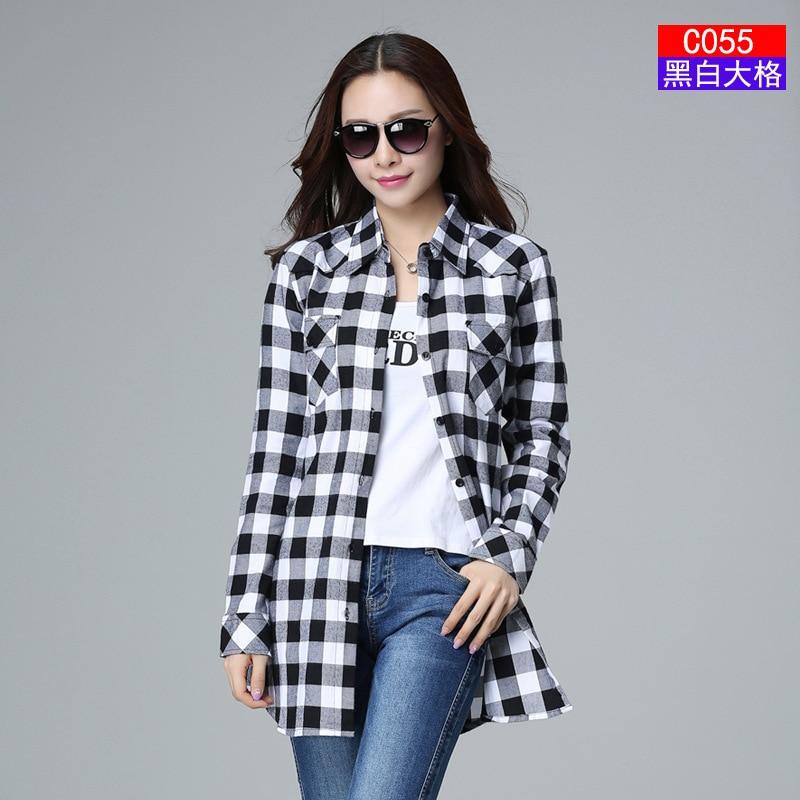 2017 Fashion Plaid Shirt Female College style women's Blouses Long Sleeve Flannel Shirt Plus Size Cotton Blusas Office tops