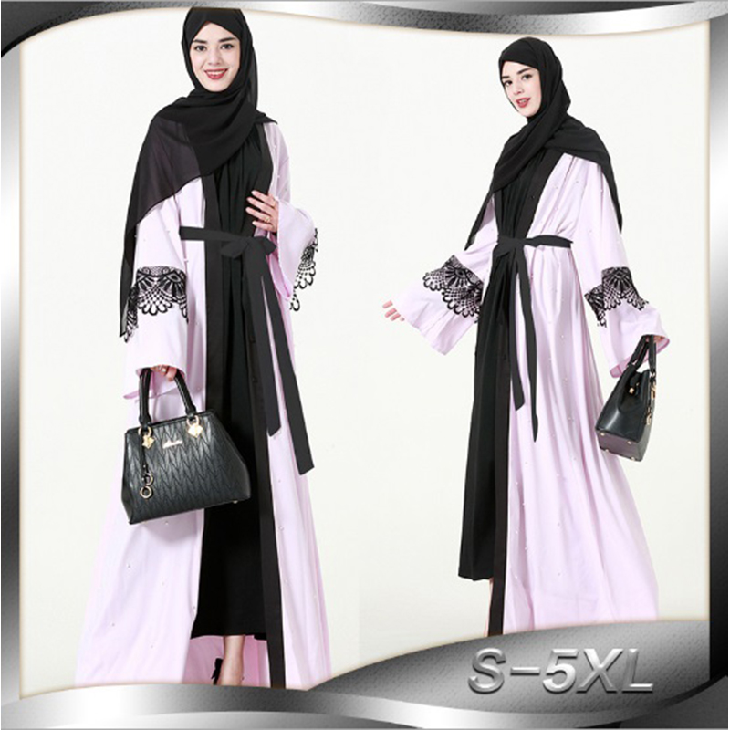 Muslim Abaya Pearls Maxi Dress Tunic Musulmane Middle East Islamic Clothing Lace Cardigan Kimono Long Robe Gowns Loose Style