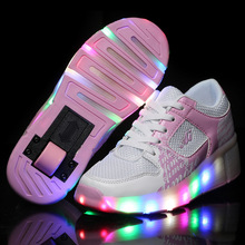 NEW 2016 Child Wheely's Jazzy LED Light Heelys Roller Skate Shoes For Children Kids Junior Girls Boys Sneakers With Wheels HOT!