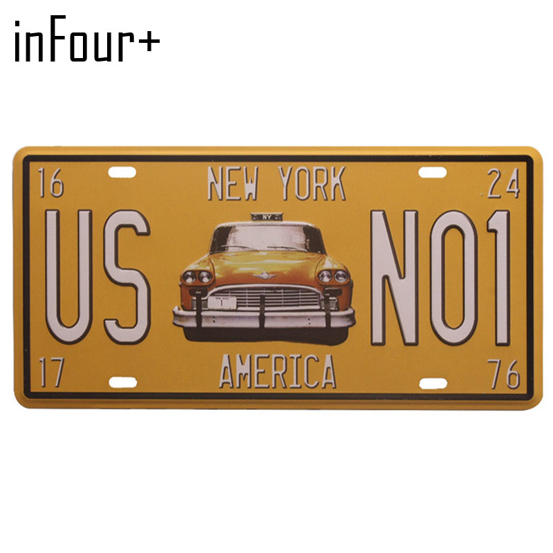 New US NO1 Car License Plate Metal Plate Car Number Tin Signs Bar Pub Cafe Home Decor Metal Sign Garage Painting Plaques Signs
