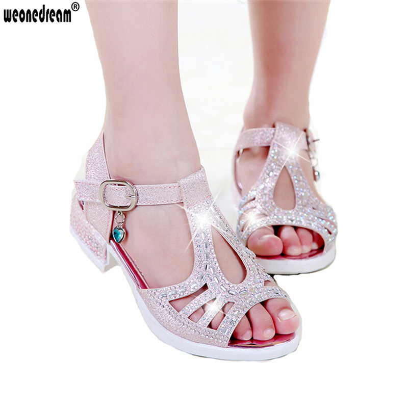 WEONEDREAM Enfants Children Princess Sandals Kids Girls Wedding Shoes High Heels Dress Shoes Party Shoes For Girls Size 27-37