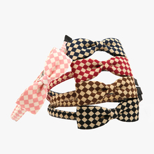 HOT 1 PC Girls Hair sticks Lady Bow Headwear Bands Blue Patchwork chequer British style Hoop