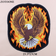 ZOTOONE Punk Rock Patch Large Embroidery Biker Patches Eagle Wings Iron On For Clothes Jeans Vest Jacket Back