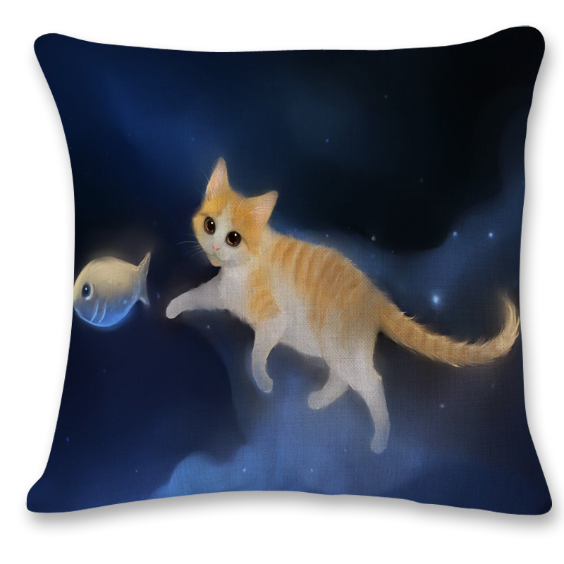 SMAVIA Cute 3D Cat Image Pillow Cover Polyester throws Couch Chair Bed Pillowcase Square Pillow Cover Removable 1pc Case -in Pillow Case from Home u0026 Garden ...  sc 1 st  AliExpress.com & SMAVIA Cute 3D Cat Image Pillow Cover Polyester throws Couch Chair ...